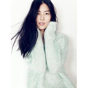 Madewell💕Cloudloft Mint Fuzzy Chunky Mock Sweater